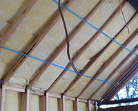 Cathedral ceiling insulation - rafters were 240mm so R5.0 batts would not fit without compression. We used 2 layers of R2.7 90mm.