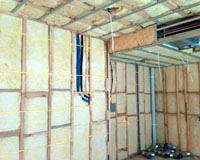Bulkhead insulation with internal wall R2.5HD batts strung in.
