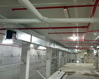 Panned view of Xtratherm boards installed to basement – photo after most services installed.